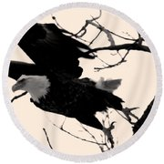 Eagles Along The Mississippi Round Beach Towel