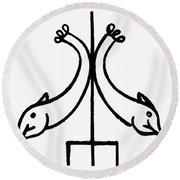 Early Christian Symbol Round Beach Towel