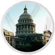 Early Morning At The Texas State Capital Round Beach Towel