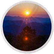 Early Morning Sunrise Over Blue Ridge Mountains Round Beach Towel