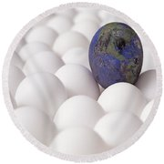 Earth Egg Pollution Round Beach Towel