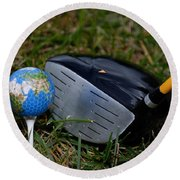 Earth Golf Ball And Golf Club Round Beach Towel