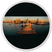 Elevated View Of The Navy Pier Round Beach Towel
