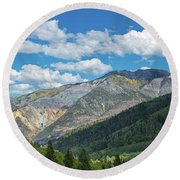 Elevated View Of Trees On Landscape Round Beach Towel
