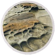 Eroded Sandstone Cliff Along The Ocean Round Beach Towel