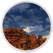 Eroded Sandstone Formations Fantasy Canyon Utah Round Beach Towel