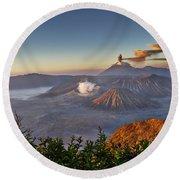 eruption at Gunung Bromo Round Beach Towel
