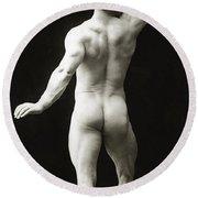 Eugen Sandow In Classical Ancient Greco Roman Pose Round Beach Towel
