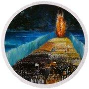 Exodus Round Beach Towel by Richard Mcbee