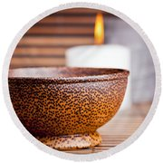 Exotic Bowl And Candles Round Beach Towel