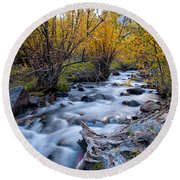 Fall At Big Pine Creek Round Beach Towel by Cat Connor