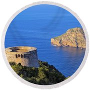 Famous Tower Of Savinar On Ibiza Island Round Beach Towel