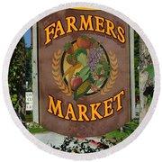 Farmers Market Round Beach Towel