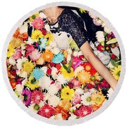Fashion Model Posing With Flowers Round Beach Towel