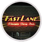 Fast Lane In Lights Round Beach Towel