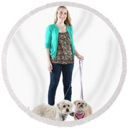 Female And Her Dogs Photographed Round Beach Towel