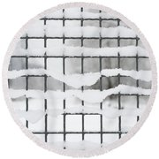 Fence With Snow Round Beach Towel