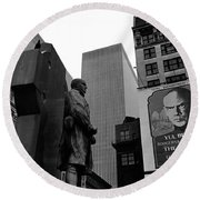 Film Homage The Fighting 69th 1940 Fr. Duffy Statue Yul Brynner Palace Theater New York 1977 Round Beach Towel