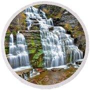 Finger Lakes Waterfall Round Beach Towel