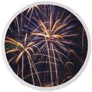 Fireworks Celebration  Round Beach Towel
