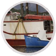 2 Fishing Boats At The Dock Round Beach Towel