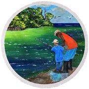 Fishing Buddies Round Beach Towel