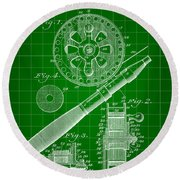 Fishing Reel Patent 1906 - Green Round Beach Towel