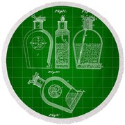 Flask Patent 1888 - Green Round Beach Towel