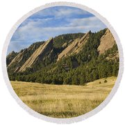 Flatirons With Golden Grass Boulder Colorado Round Beach Towel