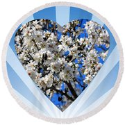 Floral Heart Round Beach Towel