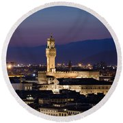 Florence At Sunset Round Beach Towel