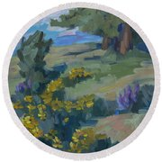Flowering Meadow Round Beach Towel