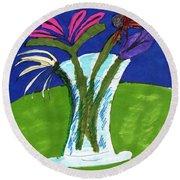 Flowers In A Vase Round Beach Towel