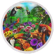 Forest Friends Round Beach Towel