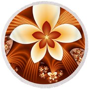 Fractal Fantasy Flowers Round Beach Towel