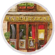 French Storefront 1 Round Beach Towel