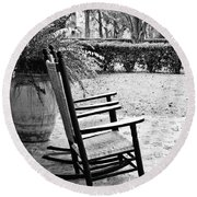Front Porch Rockers - Bw Round Beach Towel