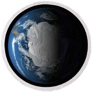Ful Earth Showing Simulated Clouds Round Beach Towel by Stocktrek Images