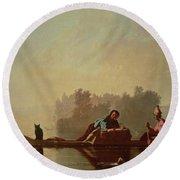Fur Traders Descending The Missouri Round Beach Towel by George Caleb Bingham