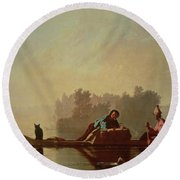 Fur Traders Descending The Missouri Round Beach Towel