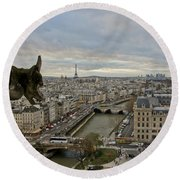 Gargoyle Overlooking Paris Round Beach Towel