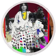 Geronimo's Wife Ta-ayz-slath And Child Unknown Date Collage 2012 Round Beach Towel