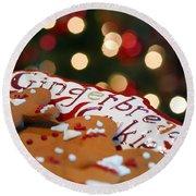Gingerbread Cookies On Platter Round Beach Towel