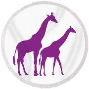 Giraffe In Purple And White Round Beach Towel