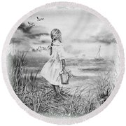 Girl And The Ocean Round Beach Towel