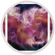 Gladiola Nebula Triptych Round Beach Towel