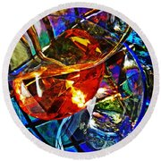 Glass Abstract 691 Round Beach Towel