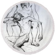 God The Father And God The Son Round Beach Towel