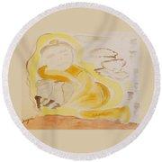 Golden Maiden Round Beach Towel