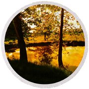 Golden Pond 3 Round Beach Towel